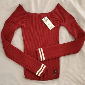 NWT Hollister Red Off the Shoulder LS Sweater XS